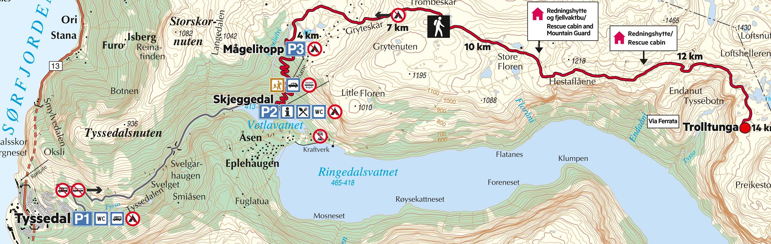 Kart som viser p1, p2 og p3