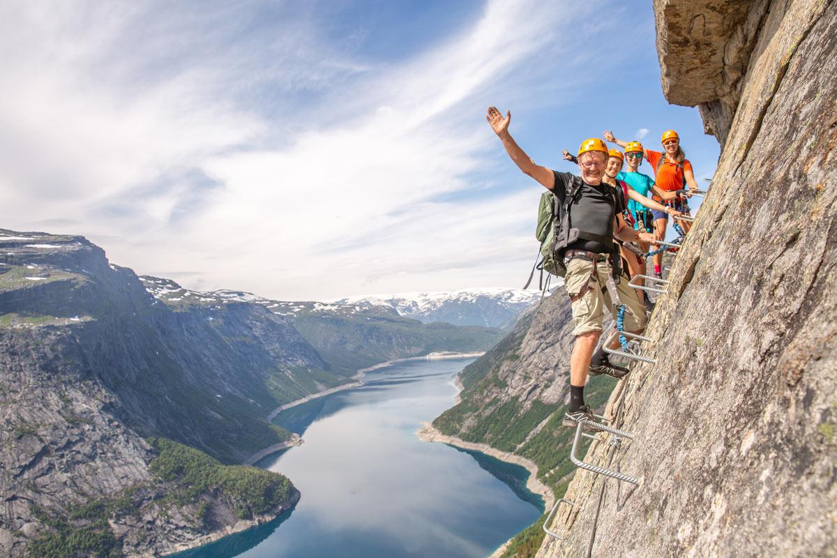 4 people climbing